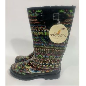 New Sakroots neon rain boots size 10 lined
